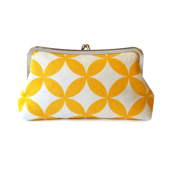 Yellow geometric clutch purse with handmade screen-printed fabric