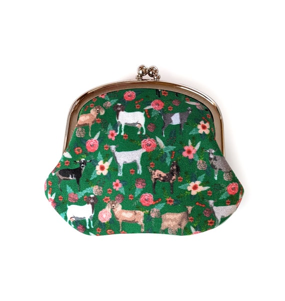 Goat coin purse - green coin purse with goats and flowers - Floral change purse with goats