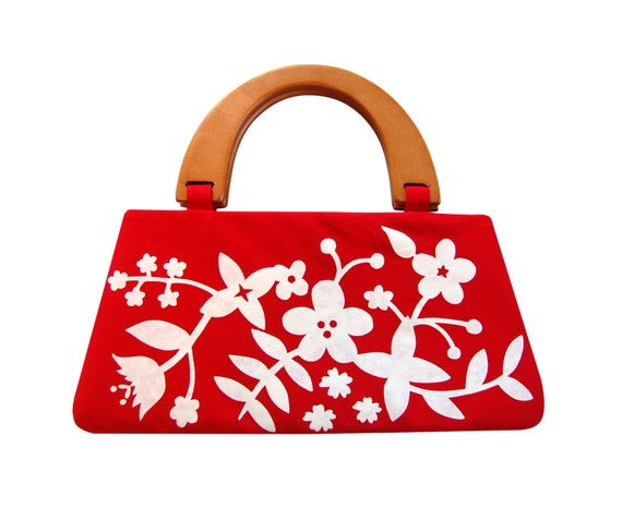 Red floral handbag with wooden handles - screen printed by hand