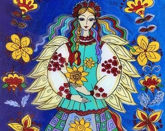 Glass Painting, Original Painting, Ukrainian Angel, Ukrainian Folk Art Style