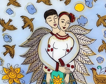 Sale, Glass Painting, Original Painting, Protected, Ukrainian Folk Art Style