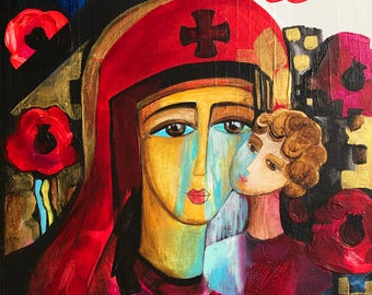 Print on Paper, Ukrainian Madonna Crying Madonna, In Memory of Ukrainian Soldiers