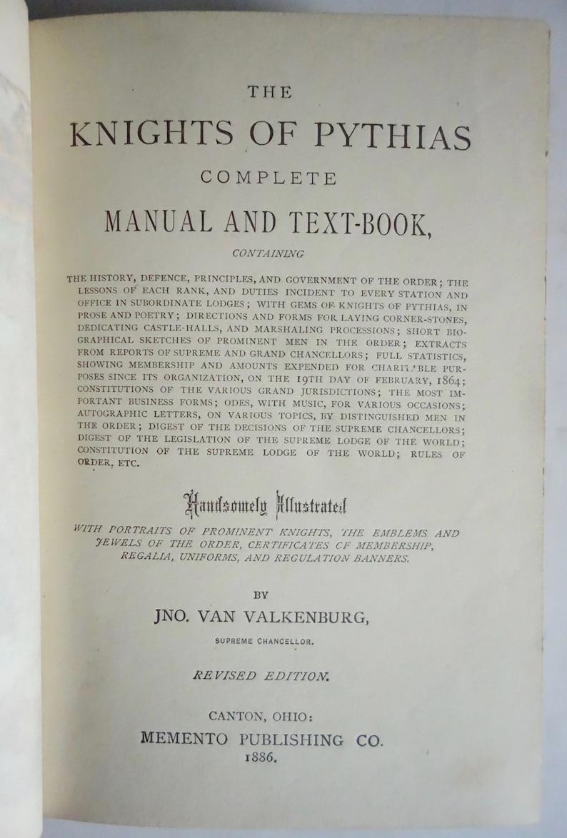 SECRET SOCIETY 1886 Knights of Pythias Masonic Manual Supreme Lodge  Freemasonry Rare Occult Books Oddfellows Esoteric Symbols Symbolism