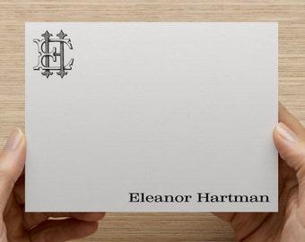 Set of 25 Vintage Monogram Personalized Monogrammed Flat and Folded Note Thank You Cards Stationery / Stationary Plus Envelopes
