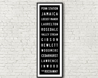 Far Rockaway Line LIRR Long Island Railroad New York Subway Art Print 11.75x36