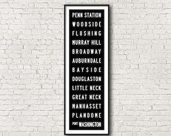 Port Washington Line LIRR Long Island Railroad New York Subway Art Print 11.75x36