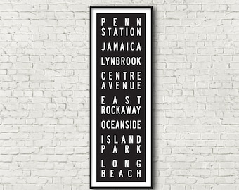 Long Beach Line LIRR Long Island Railroad New York Subway Art Print 11.75x36
