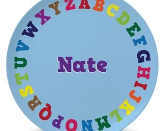 Personalized children's alphabet melamine plate