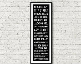 MTA 7 Line New York Subway Art Print 11.75x36