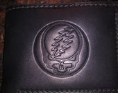Special Dead Head Bi-Fold Wallet Tooled Veg Tanned Leather Black or Brown