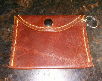 Leather Change Purse with Keychain 4 x 3 inches