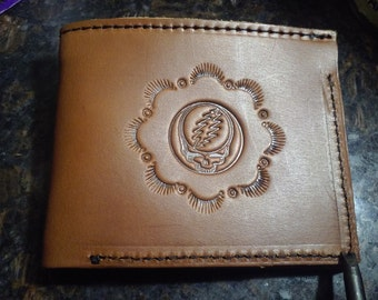 Handmade Grateful Dead Bi-Fold Wallet *Tooled Veg Tanned Leather *Blk or Brn *Ships FREE!