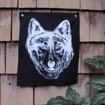 Wolf Head Silk Screen Print Patch on cotton canvas Original Illustration Black Fabric White Ink With Iron On Backing