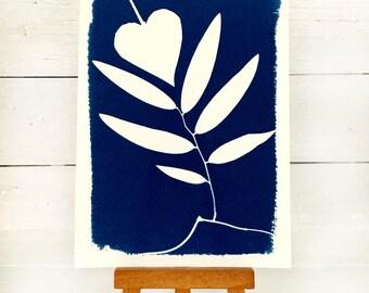 Plant Decor, Plant Cyanotype, 4x6 Inches, Nature Print, Original Art, Plant Picture