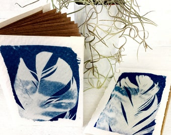 Mini Notebooks, Feather Cyanotype, Recycled Paper Notepads