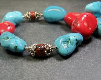 AA Chunky Sleeping Beauty Turquoise, Bamboo Coral and Sterling Silver Necklace   -   Sleeping Beauty