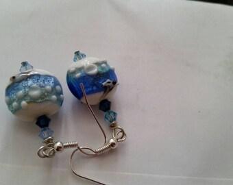 Blue and White Lentil Lampwork Sterling Silver Plated Dangle Earrings