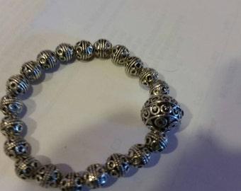 Trendy, Modern, Shabby Chic, bo ho,Tibeatan Silver Bali Stretch Bracelet with large Bali Focal Bead