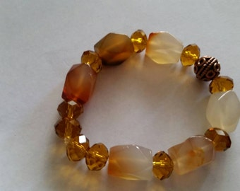 Natural Stone, Copper and Crystal artisan stretch bracelet