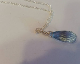 Large  Beautiful 26.57 Carat Aqua Quartz,  Sterling Silver Pendant Necklace