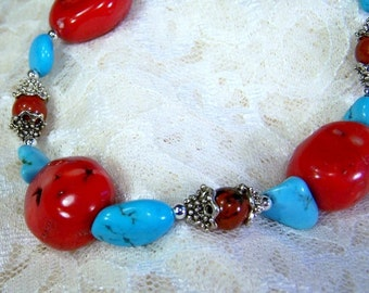 Sleeping Beauty  - Necklace  Turquoise, Bamboo Coral and Sterling Silver