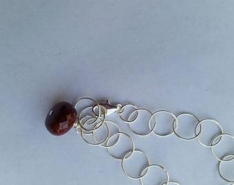 Sterling Silver Genuine Ruby Charm Dangle Bracelet