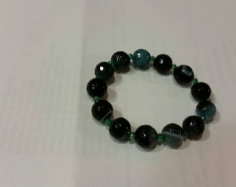 Black Dodger Blue Druzy Agate 12mm faceted beaded bracelet,  and 3mm teal apatite spacer beads