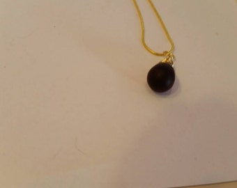 Modern, Shabby Chic, Trendy , 18mm Matte Amethyst Pear Drop 22carat Gold Plated Pendant Necklace