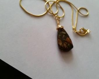 Red Jasper Briolette 22carat Gold Plated Wirewrapped Necklace