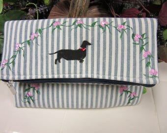 Lovely Hand Painted Dachshund and Rose Clutch Purse-One Of a Kind