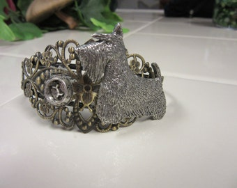 Lovely Antiqued Brass Filigree Bracelet with Pewter Scottish Terrier and Feeding Bowl-limited edition