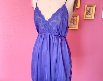 Vintage 1970s Purple Lace Camisole Cami Slip Top Dress
