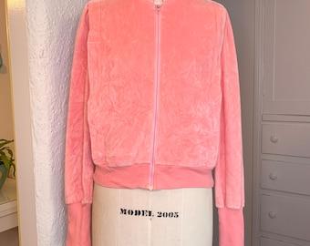Vintage 1970s pink velour track jacket by Ultrasport Ltd. Ruth Brahms