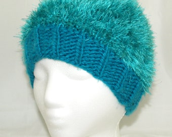 1309ba354d6 Warm blue and green turquoise furry fuzzy ski hat for winter