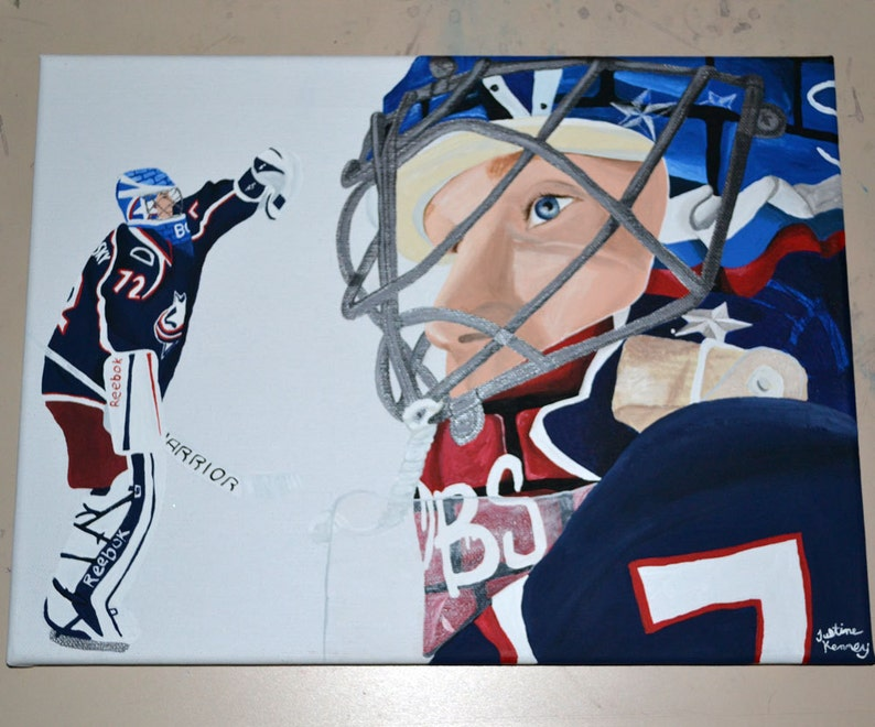 Sergei Bobrovsky Columbus Blue Jackets Painting Hockey Goalie Etsy