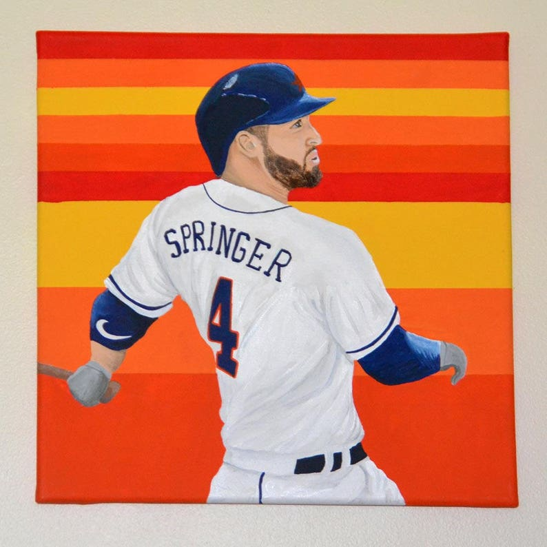 online store 3eeb8 6ccac Houston Astros George Springer 12x12 in Painting