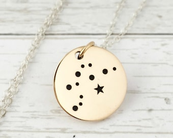 Aquarius Necklace - Zodiac Jewelry - Zodiac Necklace- Constellation- Aquarius Stars- January February Birthday Gift for Her- Sterling Silver
