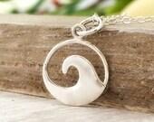 Wave necklace - sterling silver surfing jewelry - womens ocean beach wanderlust jewelry