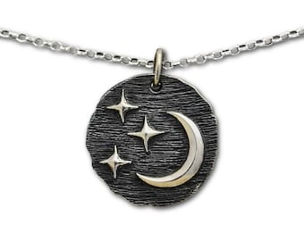 Crescent Moon and Stars Necklace, Womens Sterling Silver Jewelry, Celestial Pendant, Lunar