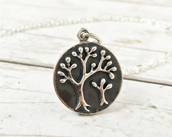 Mother and child necklace, gift for new mama, tree of life jewelry, baby, family tree, sterling silver necklace, baby shower present