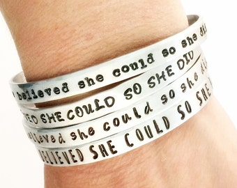 She Believed She Could So She Did Bracelet - Women Day Inspirational Cuff Bracelet- Inspiration Quote Jewelry - Back to school  gift for her