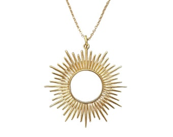 Large Sun Necklace, womens eclipse jewelry, bronze charm, solar sunburst, spikey, great for layering, statement, mothers day gift for her