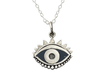 Evil Eye Necklace, sterling silver protection charm, graduation gift for girl, wear long and layered, jewelry gift for women
