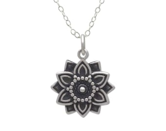 Mandala necklace, small lotus flower pendant, women sterling silver best friend gift with positive affirmation of abundance