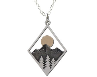 Mountain Necklace with Pine Trees and Sun in Diamond Frame, Sterling Silver Necklace for Woman, Sunset Jewelry, Outdoor Nature Gift for Her