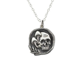 Mushroom and Skull Necklace, Gift for him or her, Sterling Silver Necklace for Woman or Man, Cycle of Life, Macabre, Gothic Jewelry, Dark