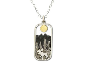 Moose Necklace in Rectangle Frame with Mountain Range Pine Trees and Sun, Gift for her, Jewelry for Woman, Nature Scene, Hiking