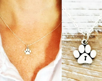 bdd7d352f Paw Print Necklace personalized with initial, womens or girls sterling  silver charm for dog mom or cat mom gift, jewelry for pet loss