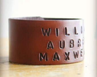 Wide personalized leather bracelet custom stamped with names - custom coordinates - for him or her - mens womens