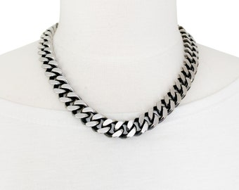 Heavy Duty Large Link Necklace, Womens or Mens Trendy Jewelry, Stainless Steel Curb Chain, 14.7mm Two Tone, Silver and Black, Large Clasp